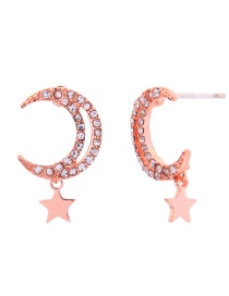 Fashion Pink Gold Alloy Diamond Star Star Earrings