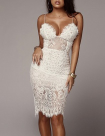 Fashion White Sling Lace Waist Sexy Nightdress
