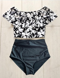Fashion Black And White Flower One-shoulder Ruffled Printed High-waist Bikini