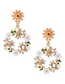 Fashion Gold Alloy Diamond Garland Stud Earrings