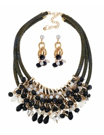 Fashion Black Gemstone Multilayer Necklace + Diamond Earring Set