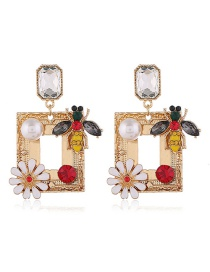 Fashion Yellow Alloy Geometric Flower Diamond Earrings