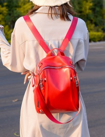 Fashion Red Double Zippered Shoulder Bag