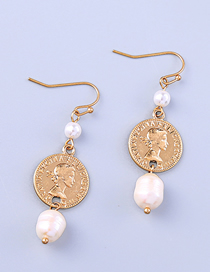 Fashion Pearl Ear-rings King Avatar Coin Pearl Earrings