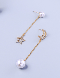 Fashion Pearl Alloy Asymmetric Diamond Star Moon Pearl Stud Earrings
