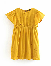 Fashion Yellow Embroidered Dress