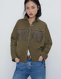 Fashion Army Green Fringe Jacket