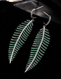 Fashion Green S925 Silver Pin Micro-inlaid Zircon Leaf Earrings