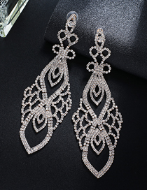 Fashion Gold + White Diamond Claw Chain Full Of Diamond Earrings