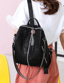 Fashion Black Sequined Oxford Cloth Backpack