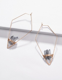 Fashion Blue Copper Wire Geometric Arrow Natural Crystal Tooth Stone Woven Earrings