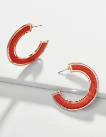 Fashion Red Alloy Wrapped Cotton Thread Hollow C-shaped Earrings