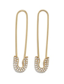 Fashion Gold Alloy Transparent Gemstone Drill Paper Clip Earrings