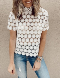 Fashion White Lace Stitching Sun Flower Lace Short Hollow Half-high Collar Blouse