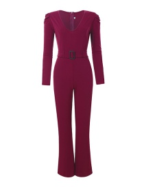 Fashion Wine Red V-neck Puff Sleeve Jumpsuit