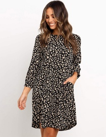 Fashion Leopard Printed Round Neck Dress