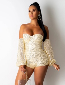 Fashion Gold Wrap Chest Strap Chest Pad Stitching Sequins One-shoulder Jumpsuit