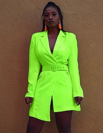 Fashion Fluorescent Green Suit Collar Irregular Dress