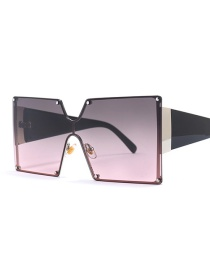 Fashion Gray Red C4 Square Siamese Sunglasses