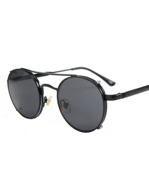 Fashion Black Frame Black Gray C1 Round Frame Dual Purpose Sunglasses
