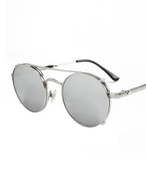 Fashion Silver Frame White Mercury C6 Round Frame Dual Purpose Sunglasses