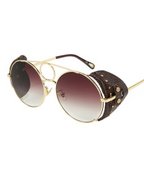 Fashion Gold Frame Double Tea / Brown Skin C6 Round Leather Rivet Border Sunglasses