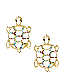 Fashion Gold Alloy-studded Hollow Turtle Earrings