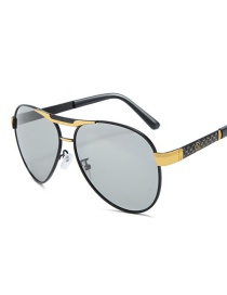 Fashion Black Gold Frame Color Film C7 Geometric Pattern Temple Oval Frame Sunglasses