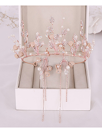 Fashion Rose Gold Crystal Alloy Leaf Crown