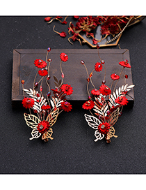 Fashion Red Flower Hair Clip