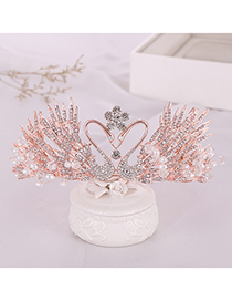 Fashion Rose Gold Swan Rhinestone Crown