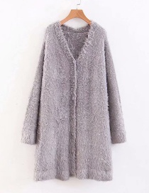 Fashion Gray Two-color One Size Sweater