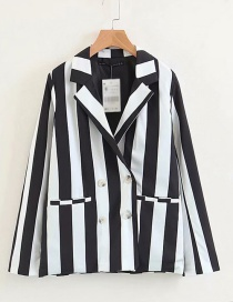 Fashion Black And White Striped Suit