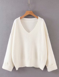 Fashion Beige V-neck Sweater