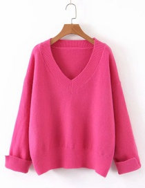 Fashion Red V-neck Sweater