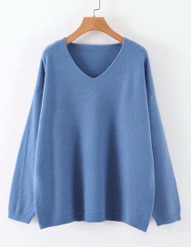 Fashion Blue Pullover Top