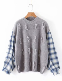 Fashion Gray Plaid Stitching Sweater