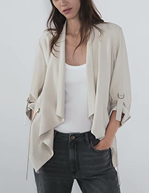 Fashion Beige Large Lapel Coat