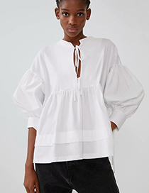 Fashion White Bow Stitching Shirt