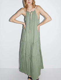 Fashion Green Cotton Wrinkled Dress
