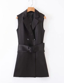 Fashion Black Belted Double-breasted Suit Vest