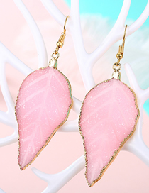 Fashion Pink Imitation Natural Stone Leaf Earrings