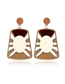 Fashion White Coffee Color Geometric Multilayer Wood Earrings