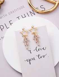 Fashion Gold 925 Silver Needle Hollow Star Crystal Earrings