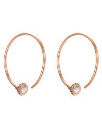 Fashion Rose Gold Stainless Steel Zircon C-shaped Earrings