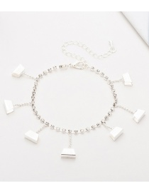 Fashion Silver Trapezoidal Studded Tassel Anklet