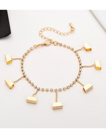 Fashion Gold Trapezoidal Studded Tassel Anklet