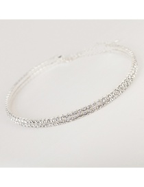Fashion Silver Two Rows Multi-row Diamond Collar