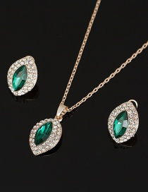 Fashion Green Diamond Necklace Earring Set