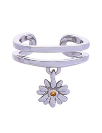 Fashion Silver Copper Inlaid Zircon Flower Double Ring